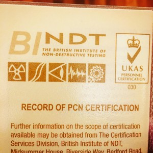 PCN Lvl II Ultrasonic Inspection certificate